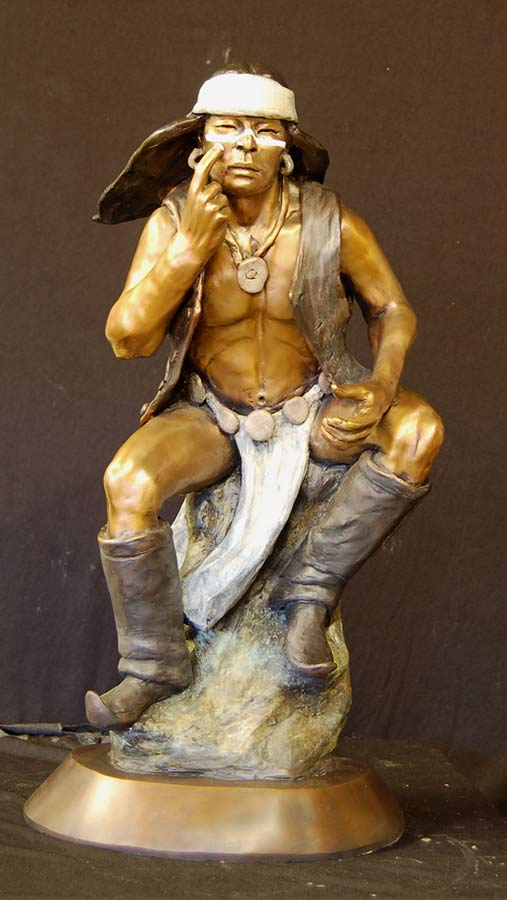 Apache War Paint by Marie Barbera a Native American bronze sculpture