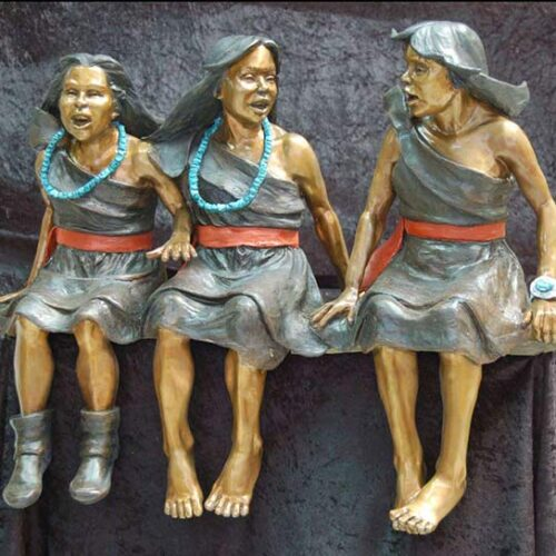 Girls Just Want to Have Fun a bronze Native Americam sculpture by Marie Barbera