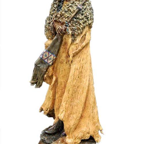 Lakota Mountain Man by Marie Barbera a Native American bronze sculpture