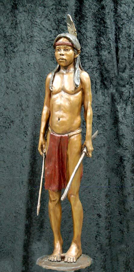The Little Hunter bronze Native American sculpture by Marie Barbera