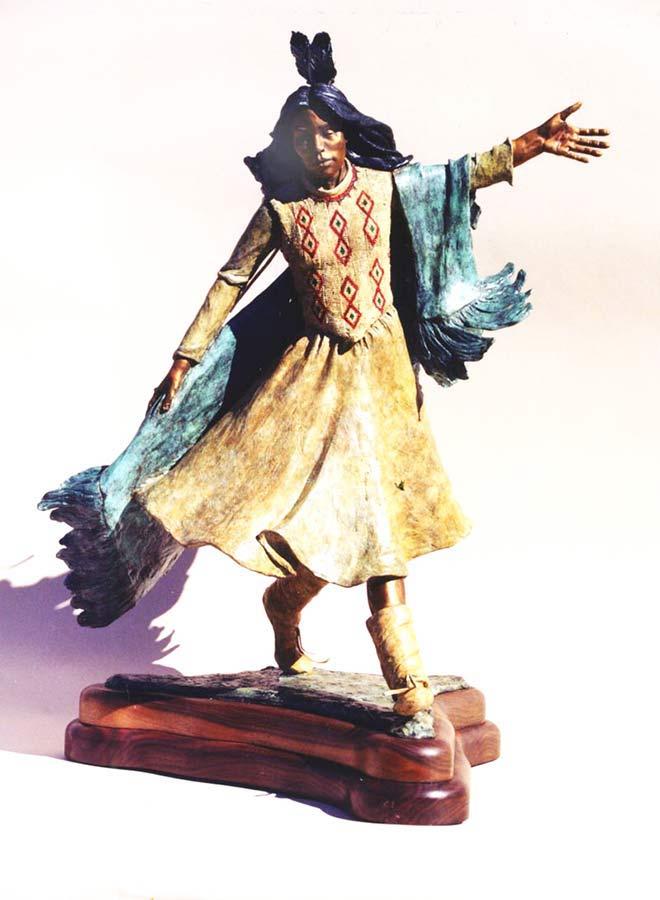 Blanket Dance a colorful Native American bronze sculpture by Marie Barbera
