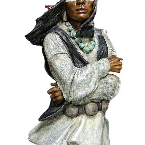 Cochise a Native American bronze sculpture by Marie Barbera