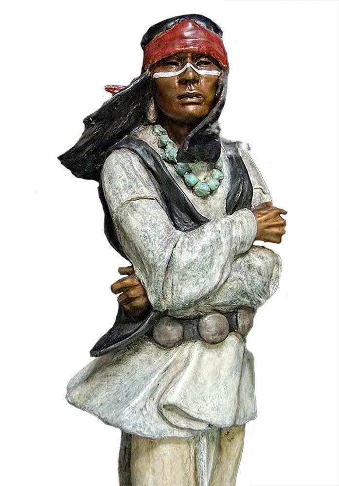 Cochise a Native American bronze sculpture by Marie Barbera