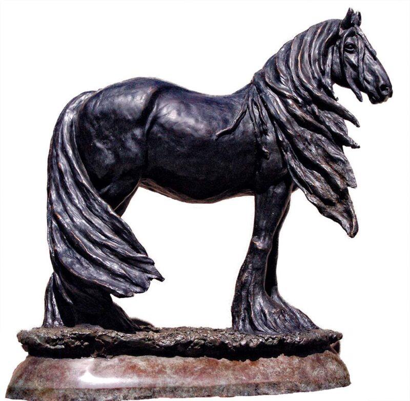 Joe, the Friesian horse a bronze equine sculpture by Marie Barbera