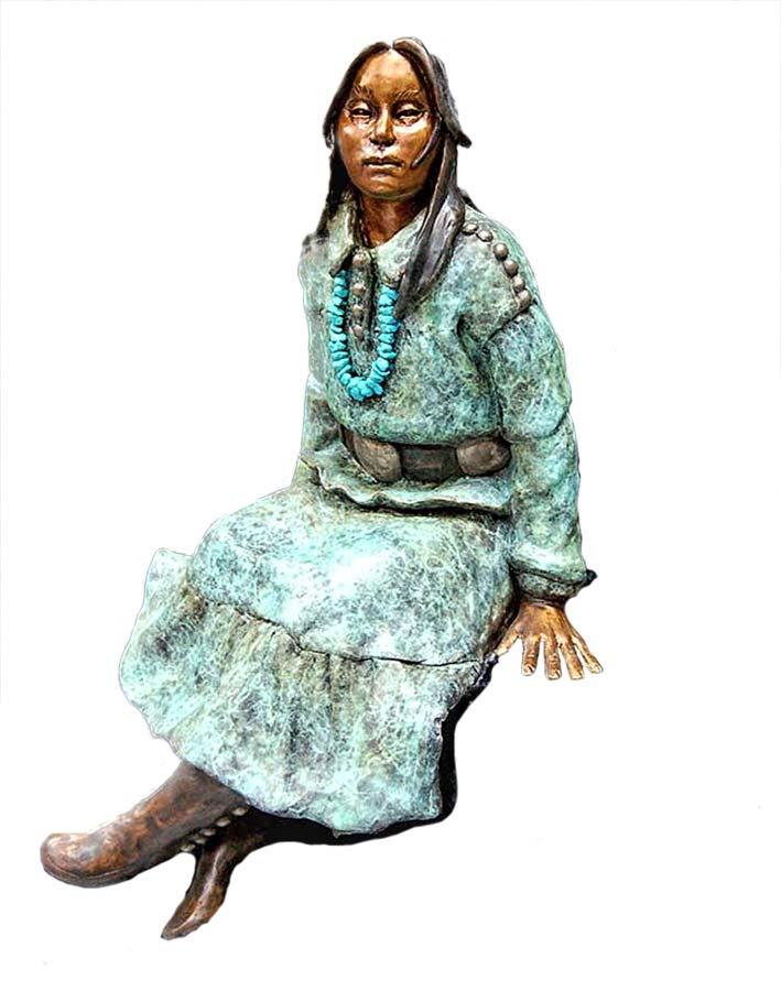 Navajo Dreamer by Marie Barbera a Native American bronze sculpture