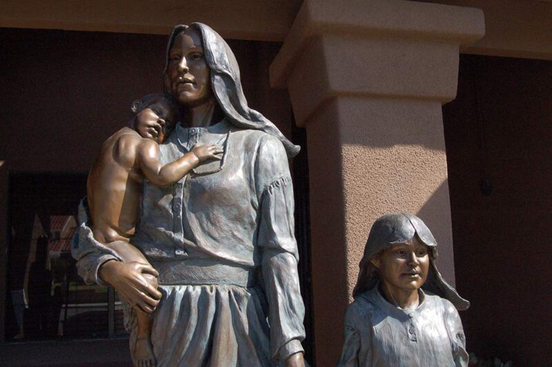 Once Upon the Plains a life-size bronze sculpture by Native American sculptor Marie Barbera