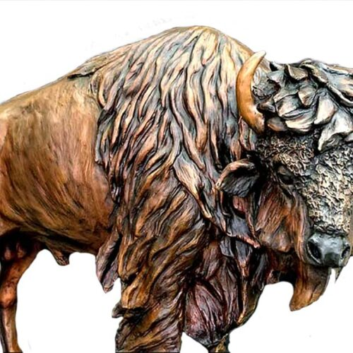 Buffalo sculpture in bronze The Legend by Marie Barbera