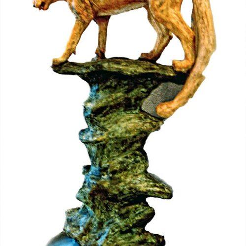 Cougar Mountain a bronze mountain lion sculpture by Marie Barbera