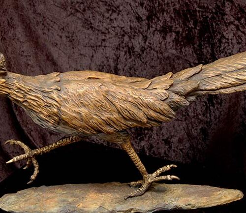 The Roadrunner a bronze sculpture by Marie Barbera