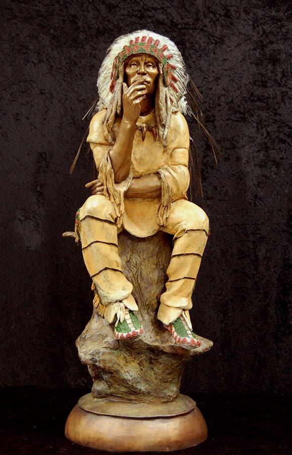 The Elder by Marie Barbera a Native American bronze sculpture