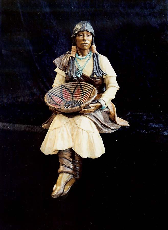 The Weaver bronze Native American Sculpture by Marie Barbera