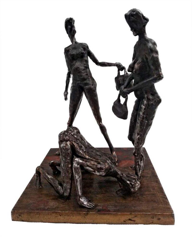 Make a Choice - a unique welded steel sculpture by Norwegian artist Knut Kvannli