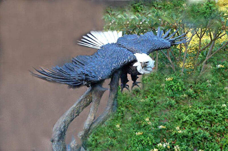 Marie Barbera bronze sculpture of an eagle titled Liberty
