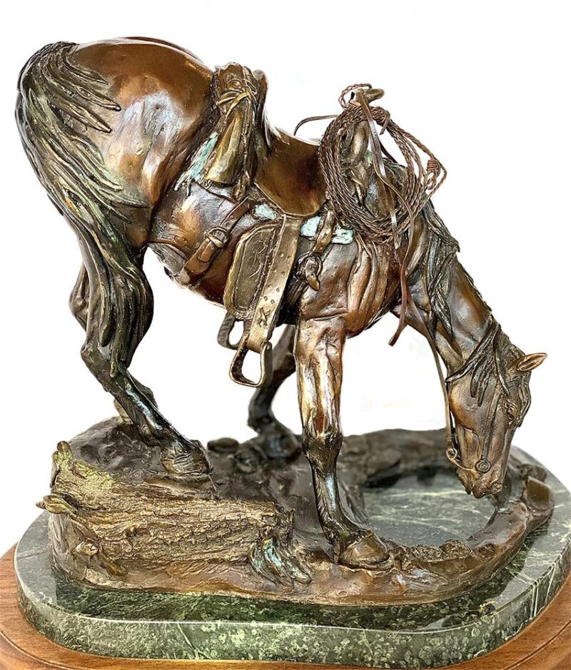 'Refreshing Pause' a bronze limited edition horse sculpture by Bob Parks