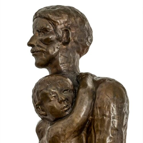 Father and Child 3/4 life-size bronze sculpture by Norman Annis