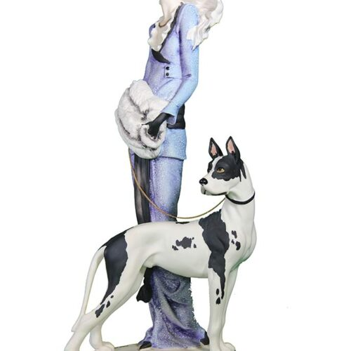 Porcelain sculpture Lady with Great Dane by Giuseppe Armani