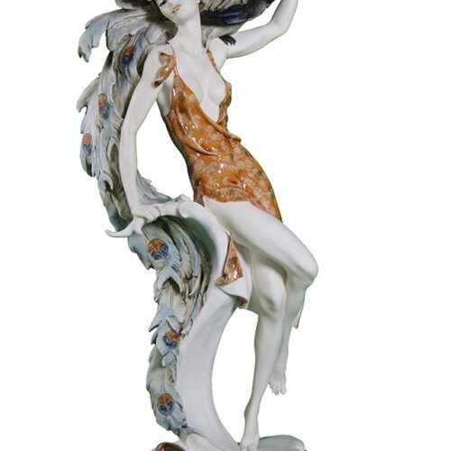 sculpture in porcelain Lady and Peacock by Giuseppe Armani