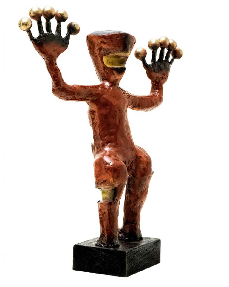 Exoplanets maquette-sized sculpture in red-brown patina by Nikolas