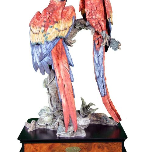 Tropical Splendow porcelain sculpture of Parrots by Giuseppe Armani