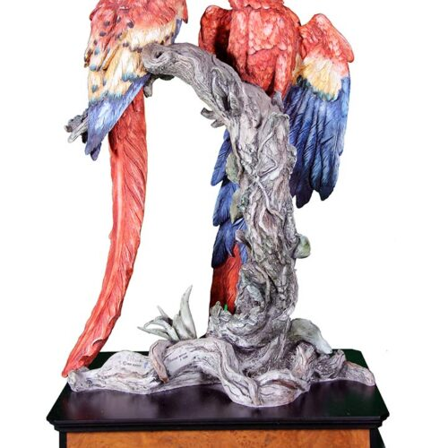 Tropical Splendow porcelain sculpture of Parrots by Giuseppe Armani