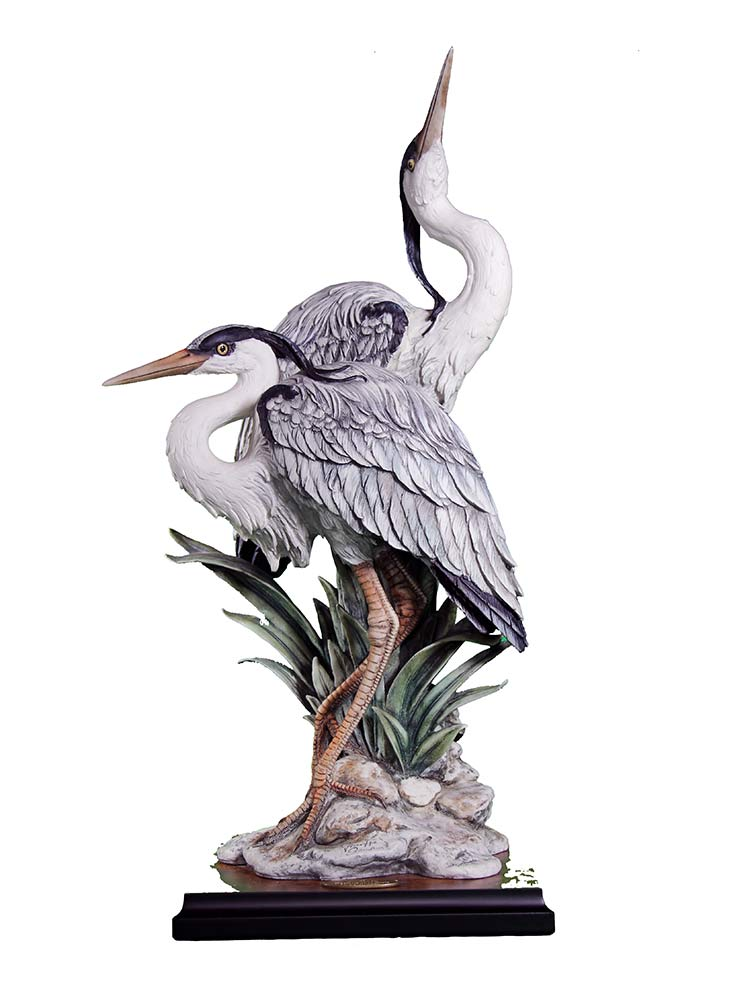 Sculpture in porcelain titled Elegance In Nature of water Cranes by Giuseppe Armani