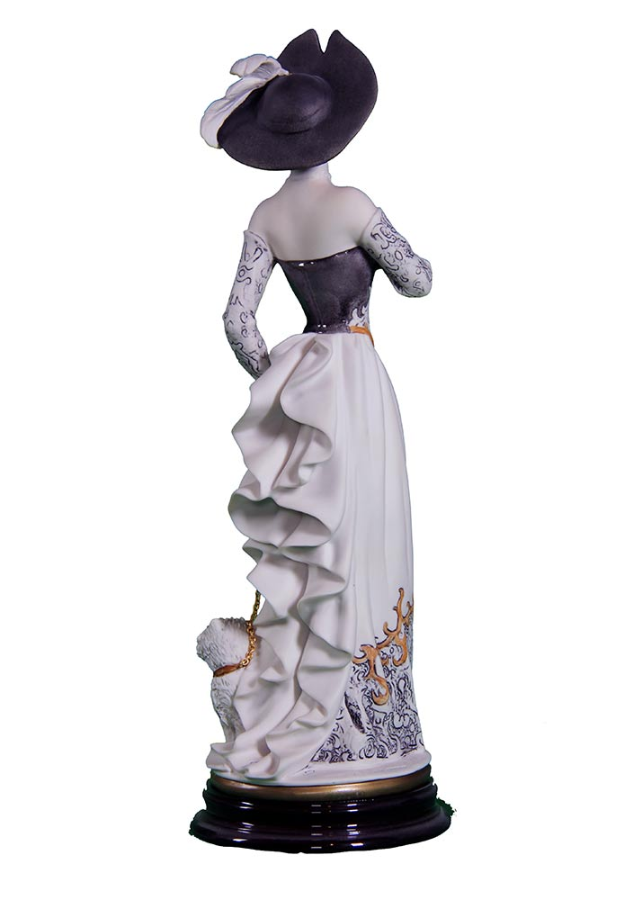Sculpture in porcelain - Christine with dog on leash by Giuseppe Armani
