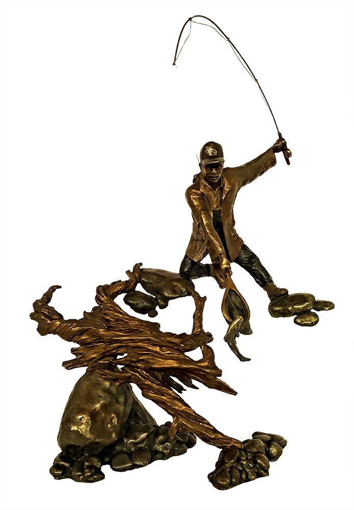 Landing a Rainbow a limited edition bronze trout sculpture by Mark Hopkins