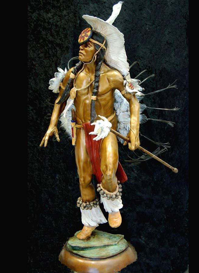 Medicine Make a bronze shaman sculpture by Marie Barbera
