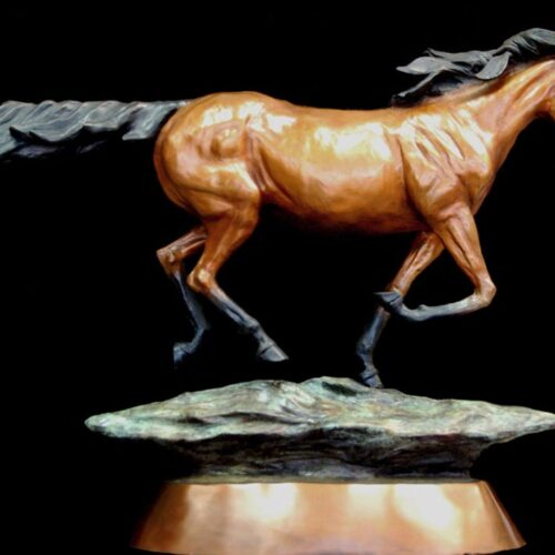 Thunder a bronze horse at gallop by MaMarie's longtime interest in horses lead her wanting to sculpt a contemporary sculpture of a horse at full gallop by Marie Barbera