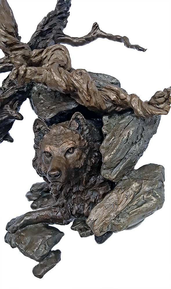 Sanctuary a limited edition solid bronze wolf sculpture by Mark Hopkins