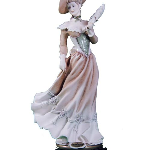 Vanessa an elegant lady with a fan - a porcelain sculpture by Giuseppe Armani