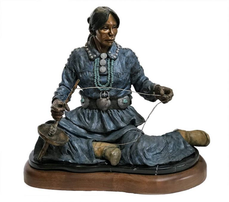 Lily the Basket Weaver a limited edition bronze Native American sculpture showcasing the weaving of a woman by Marie Barbera
