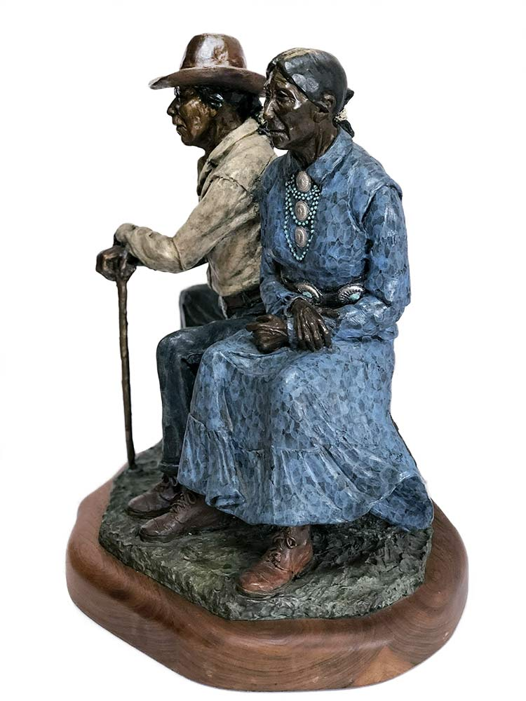 Memories a limited edition bronze Native American sculpture showcasing the times of a couples life by Marie Barbera