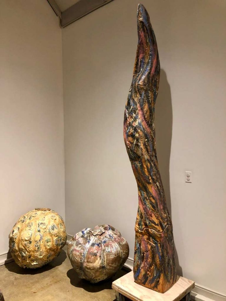 A Ceramic Stone Sculpture titled Flame column created by Carol Fleming