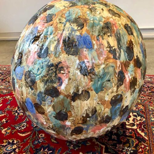 A Spotted Sphere with Multi-Colored Glazes created by Carol Fleming