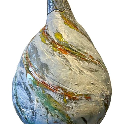 A large Ceramic Teardrop Sculpture by Carol Fleming of Studio Terra Nova
