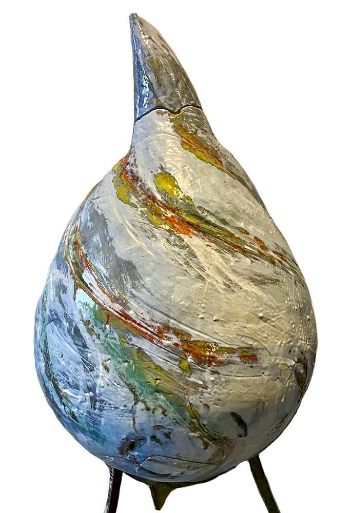 A large Ceramic Teardrop Sculpture by Carol Fleming of Studio Terra Nova