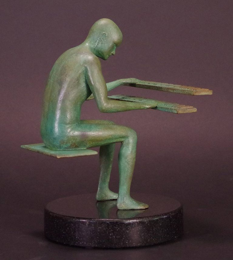 Jazzman a limited edition bronze sculpture by Robert E. Gigliotti