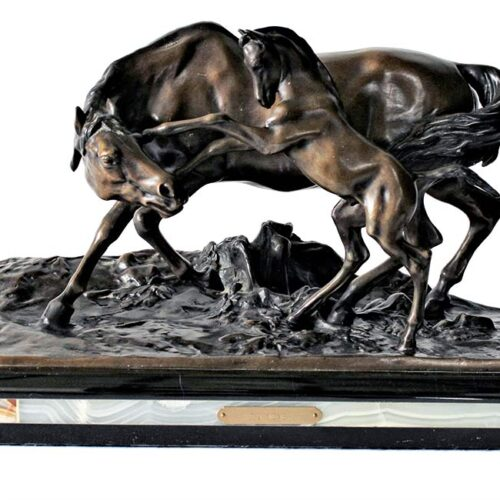 P J Mene bronze sculpture Mare with Rearing Colt
