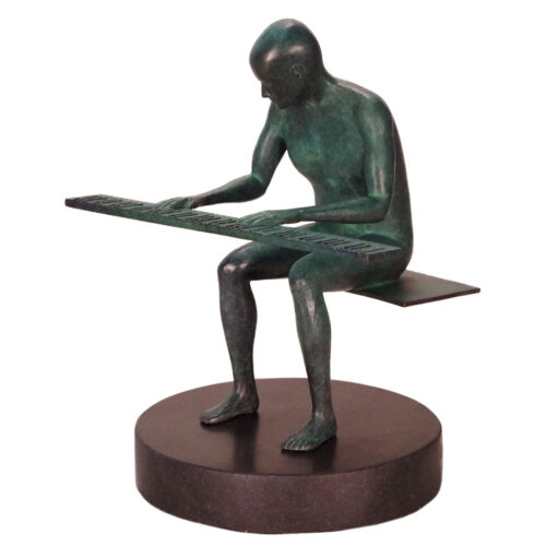 Pianoman a limited edition bronze sculpture by Robert E. Gigliotti