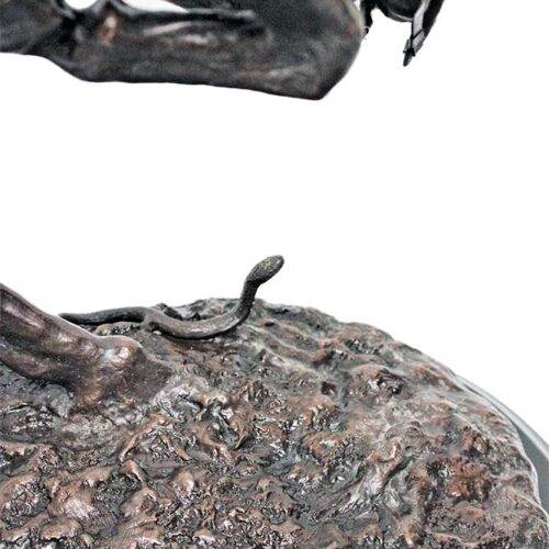 Famous Remington Rattlesnake and Horse sculpture in bronze