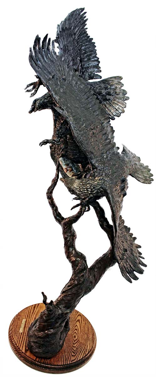 A Limited Edition Bronze Eagle Sculpture by Dale M. Burr titled Boundary Dispute at Sculpture Collector