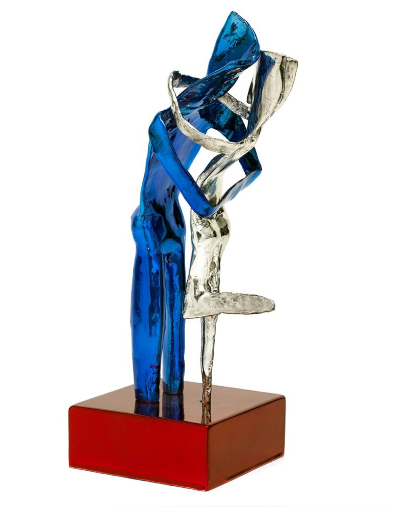 Aesthisis - chrome blue mirror maquette-sized sculpture a limited edition bronze by Nikolas