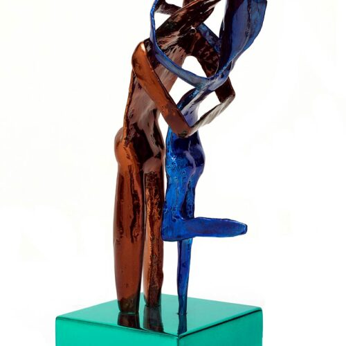 Aesthisis - chrome brown blue maquette-sized sculpture a limited edition bronze by Nikolas