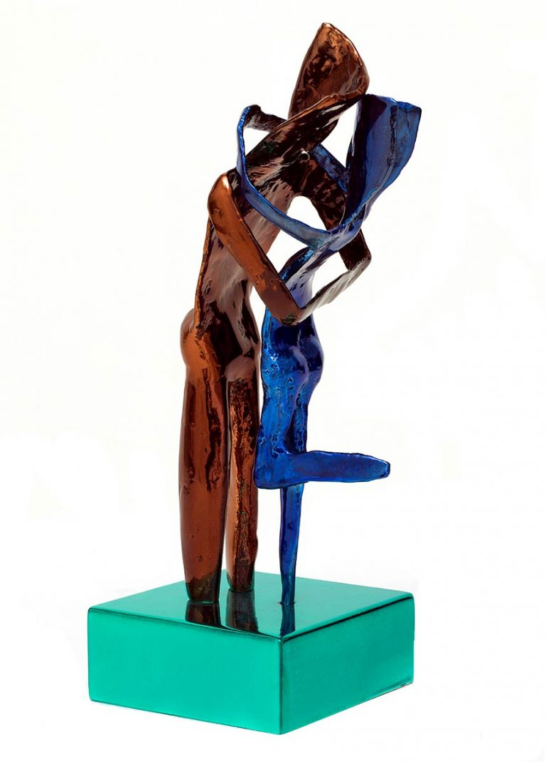 Aesthisis – chrome brown blue maquette-sized sculpture a limited edition bronze by Nikolas