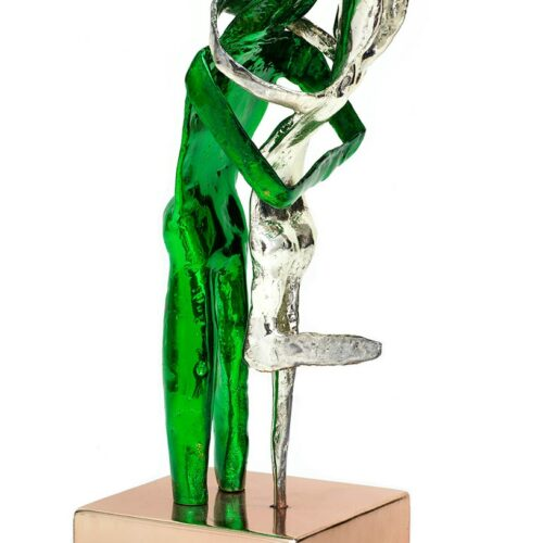 Aesthisis - chrome green mirror maquette-sized sculpture a limited edition bronze by Nikolas