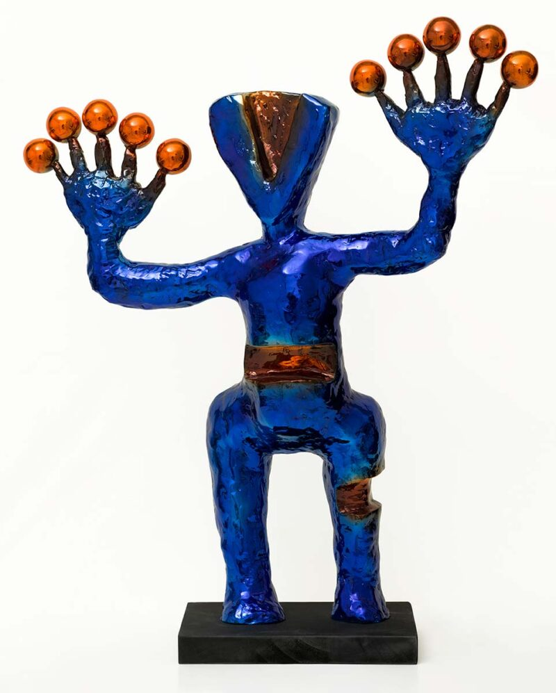Exoplanets sculpture a limited edition blue and red bronze patina by Nikolas
