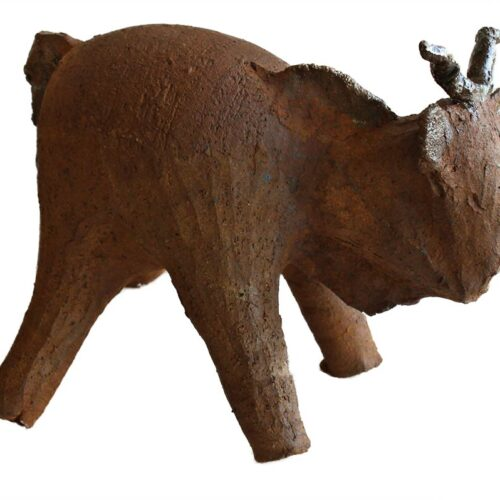 Stoneware baby bull a Ceramic sculpture by Peter Daniels