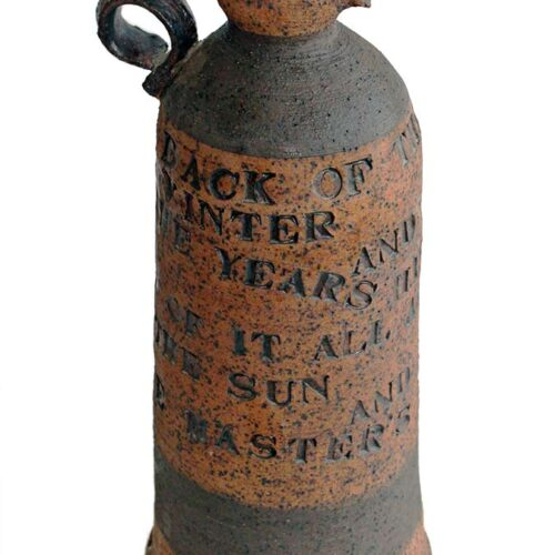 A Porcelain Stoneware Wine Bottle with ancient poem inscribed by Peter Daniels