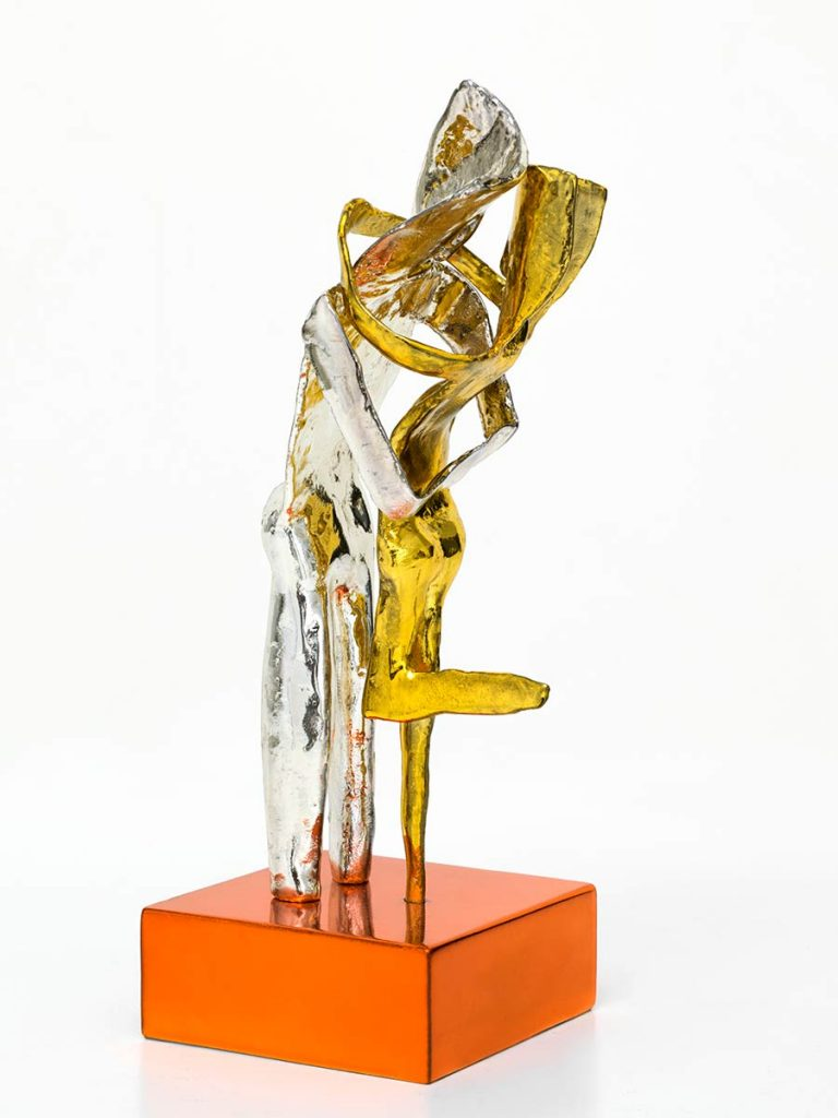 Aesthisis – chrome yellow mirror maquette-sized sculpture a limited edition bronze by Nikolas